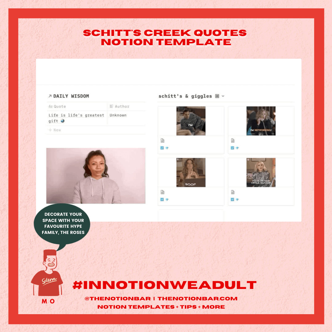 Schitt's Creek Quotes Notion Template