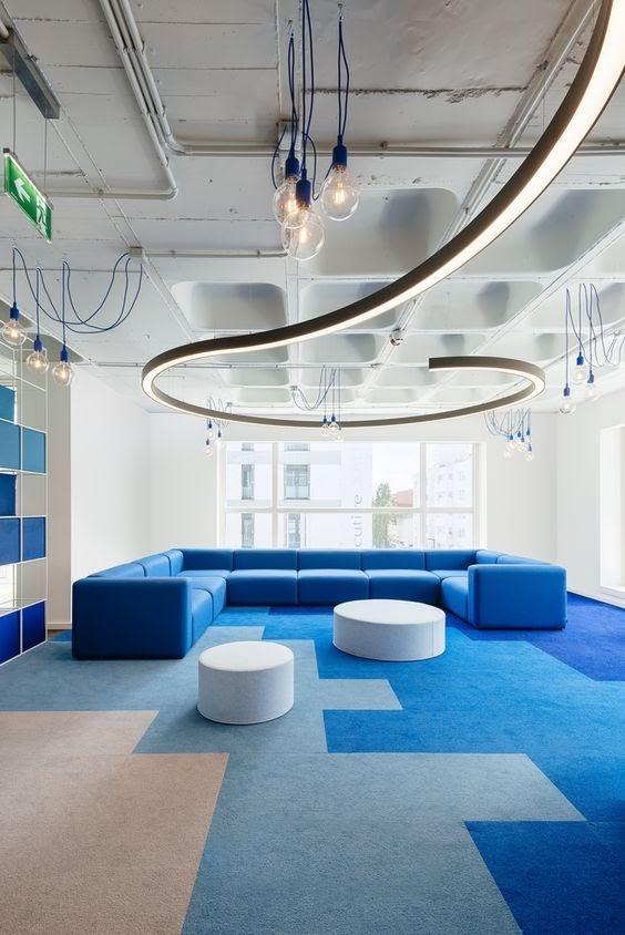 escritório tapete geométrico azul