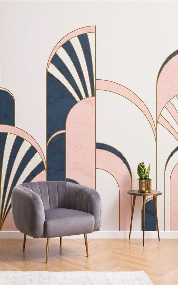 parede estampa azul e rosa art déco