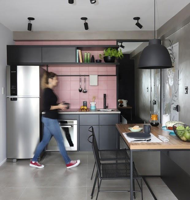 cozinha azulejo quadrado rosa