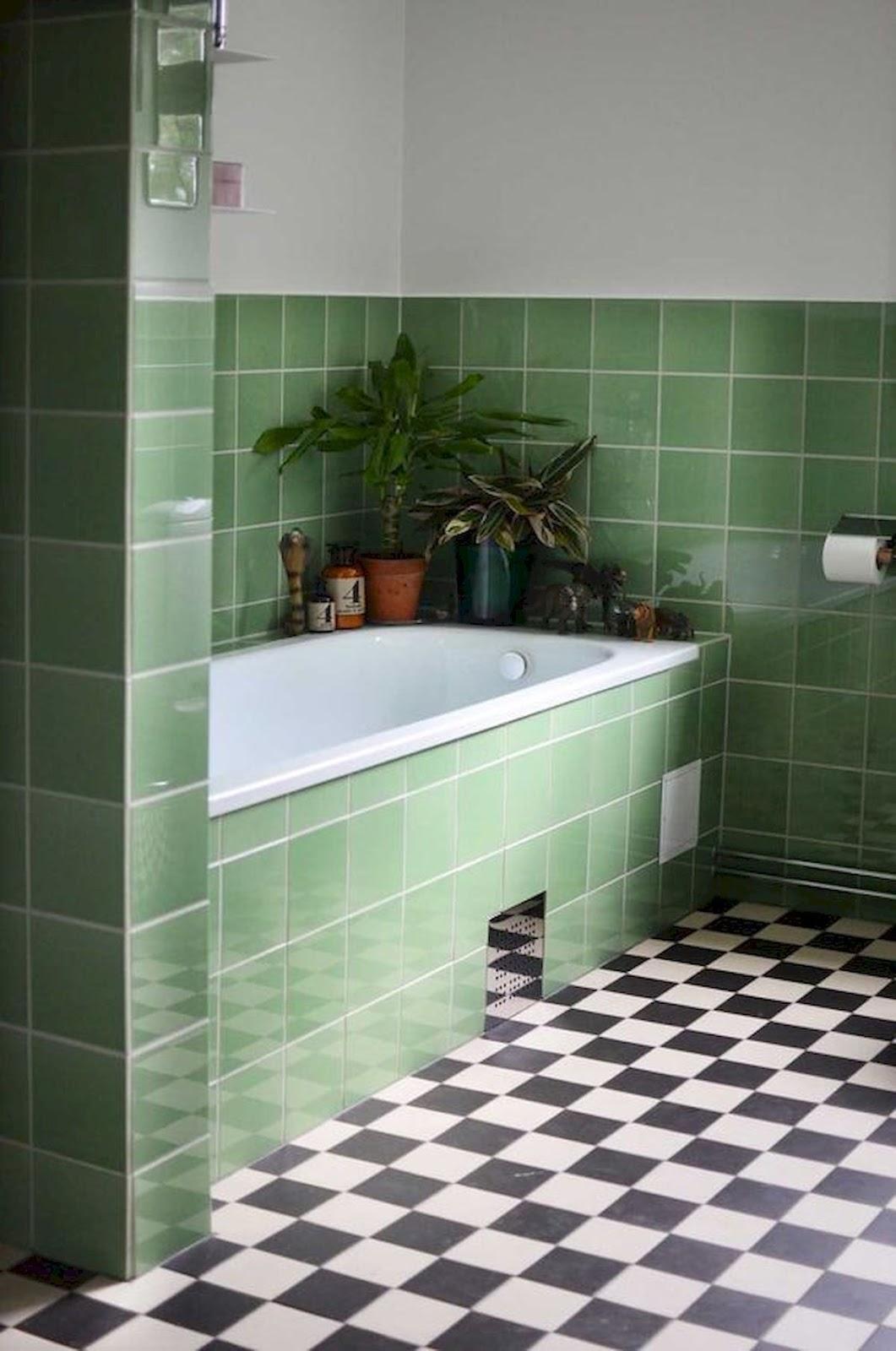 banheiro azulejo quadrado verde