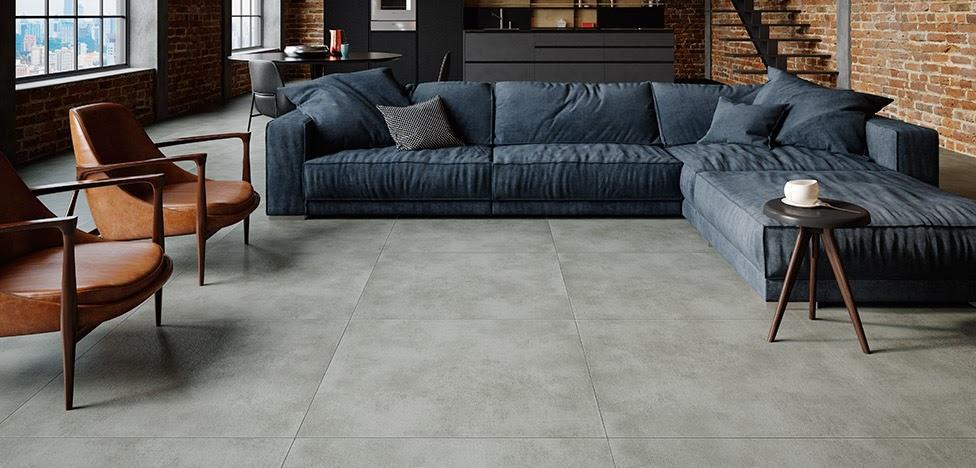 sala piso vinílico textura cimento