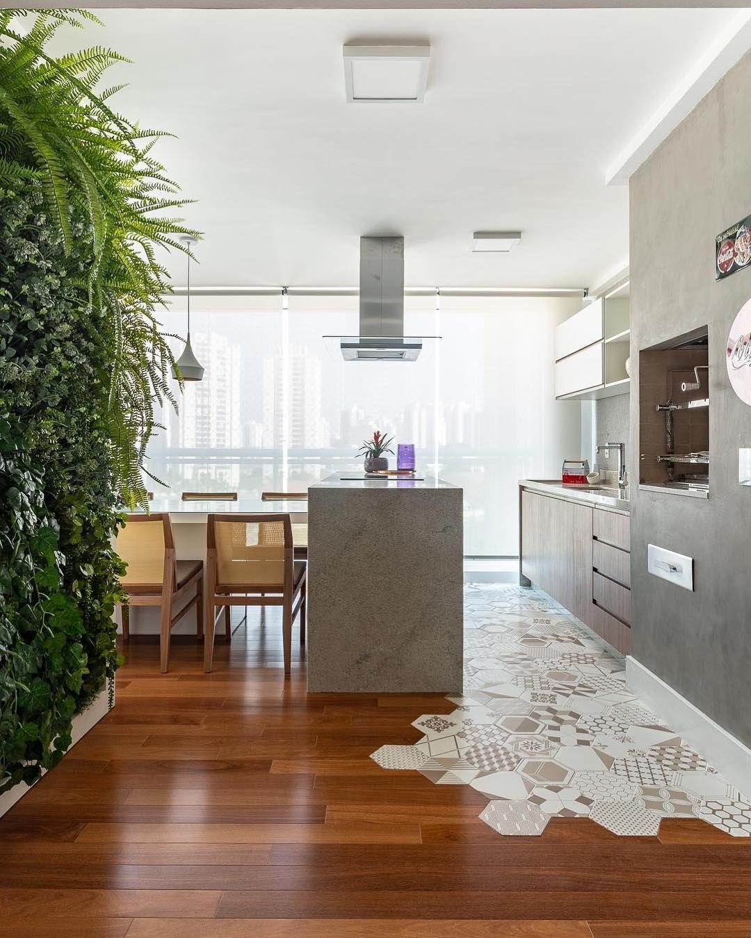 cozinha varanda gourmet parede textura cimento