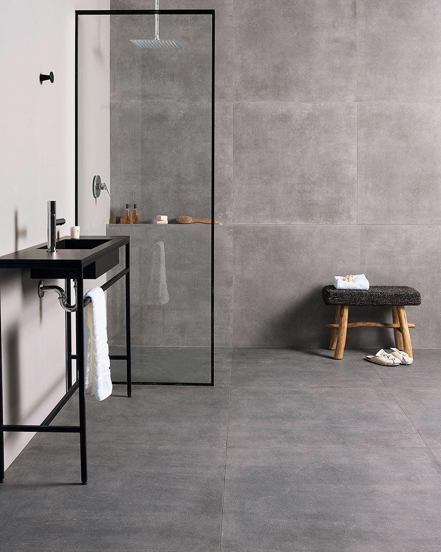 banheiro porcelanato piso e parede textura cimento