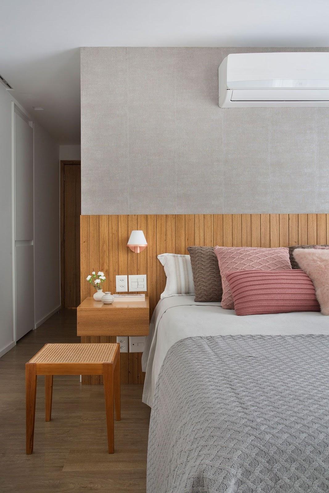 quarto casal parede textura tecido