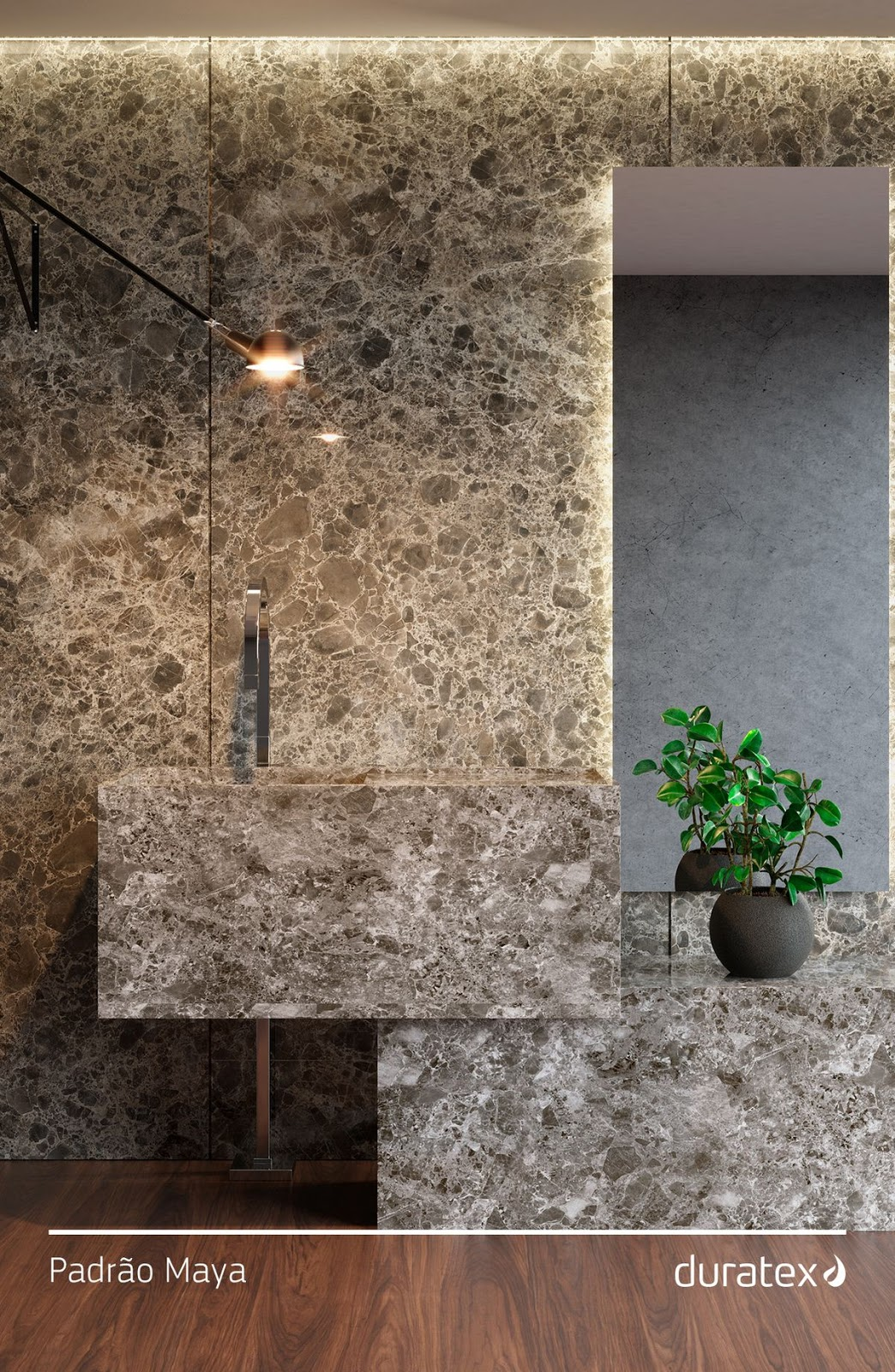 banheiro painel mdf pedra