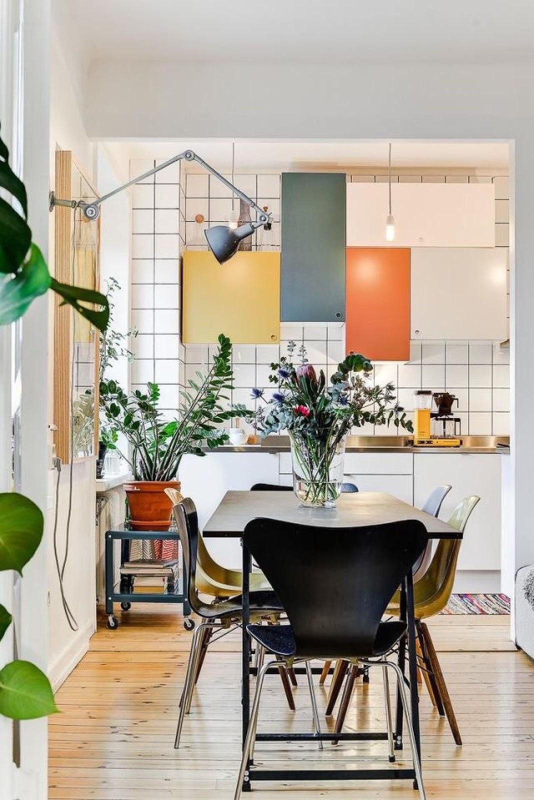 cozinha integrada decoração colorida