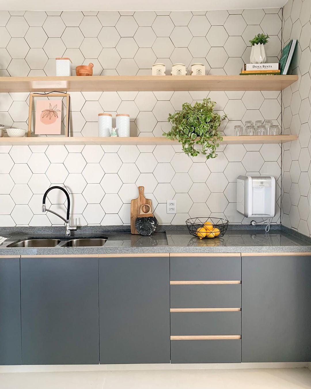cozinha revestimento hexagonal branco