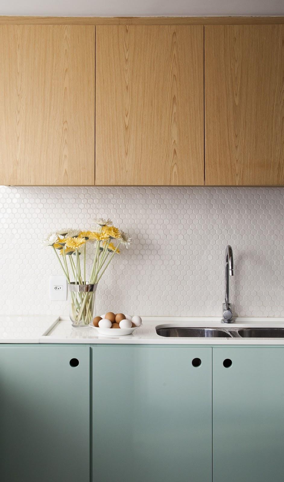 cozinha pastilha revestimento hexagonal branco