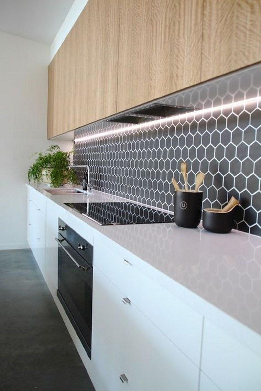 cozinha pastilha revestimento hexagonal preto