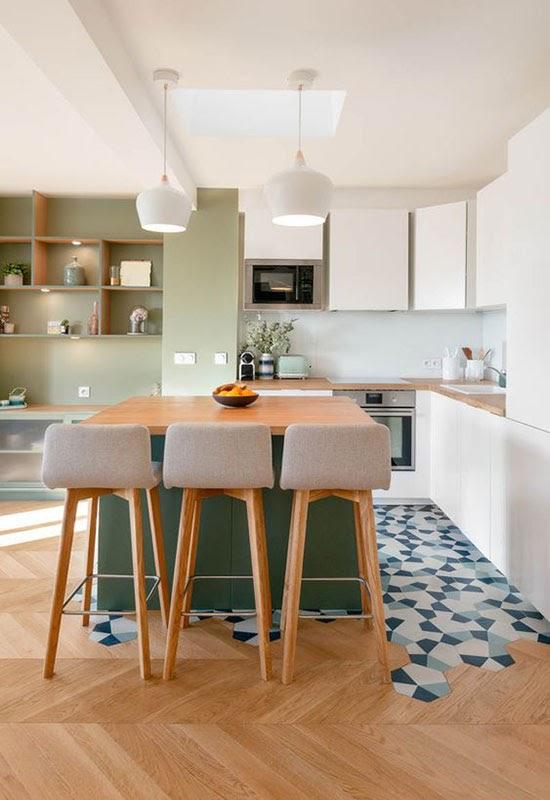 cozinha sala integrada piso revestimento hexagonal geométrico