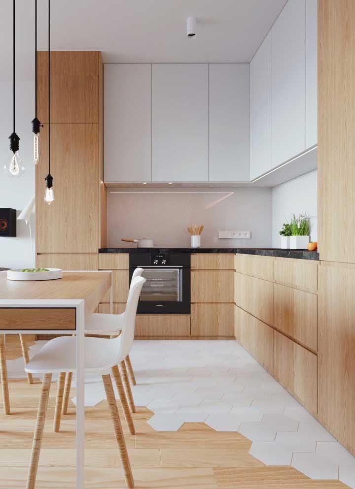 cozinha sala integrada piso revestimento hexagonal branco