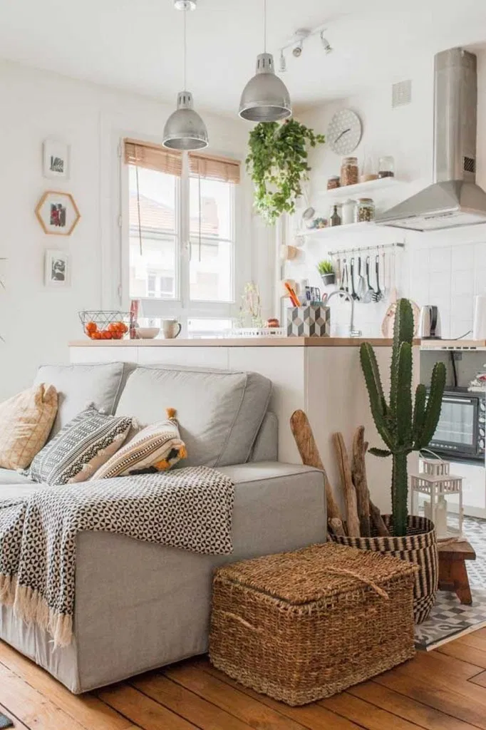 cozinha sala integrada cores claras
