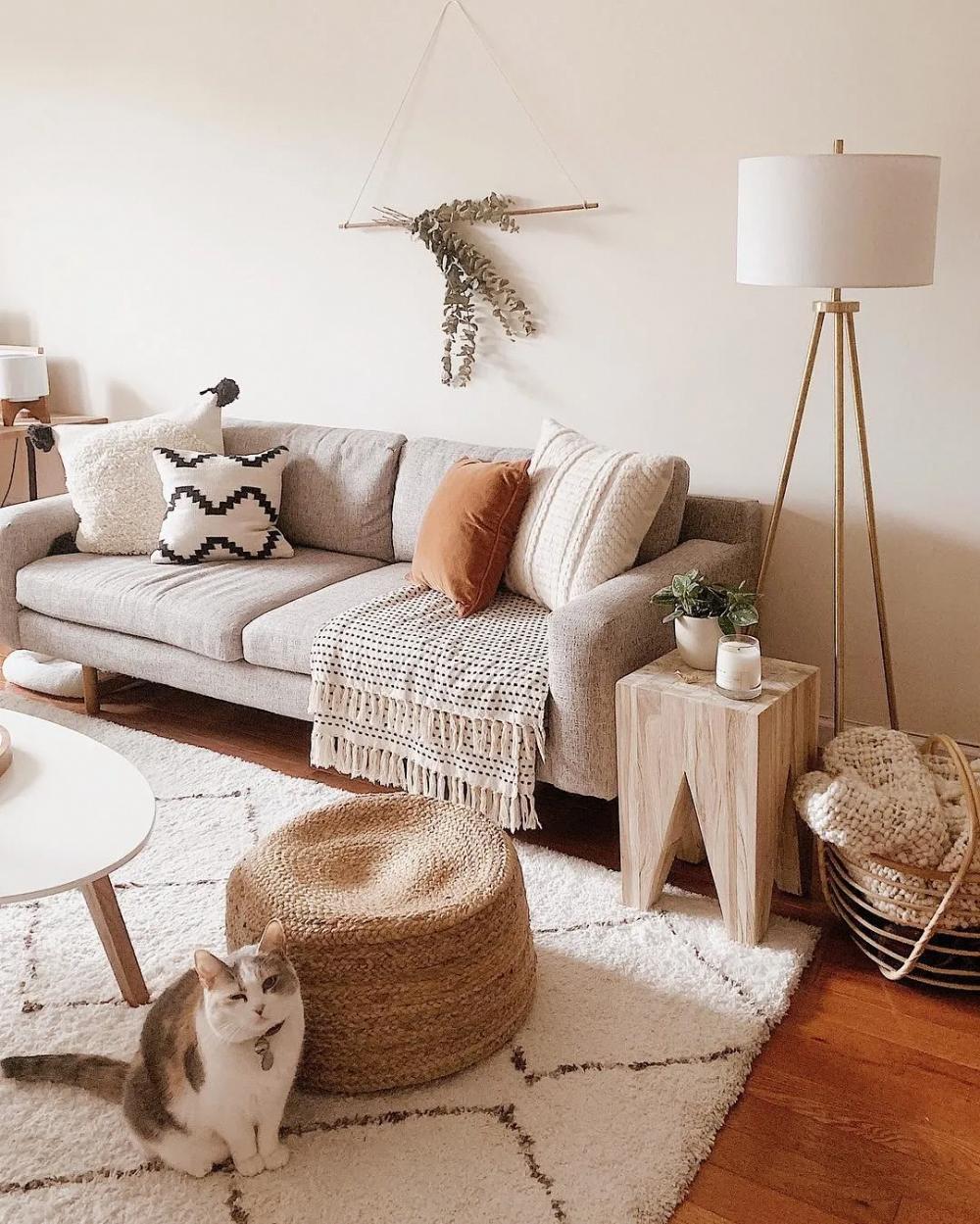 sala de estar decoração estilo escandinavo