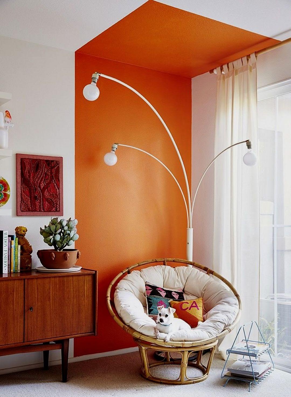 sala parede pintura geométrica teto