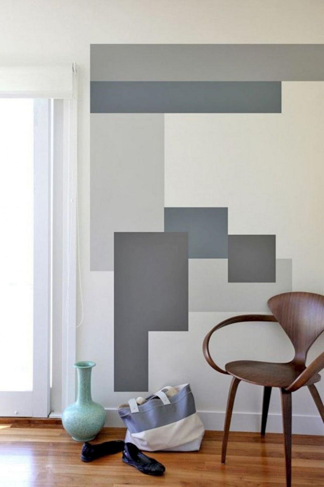 sala parede pintura geométrica cinza