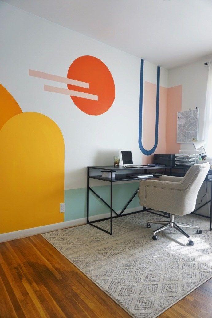 home office parede pintura geométrica