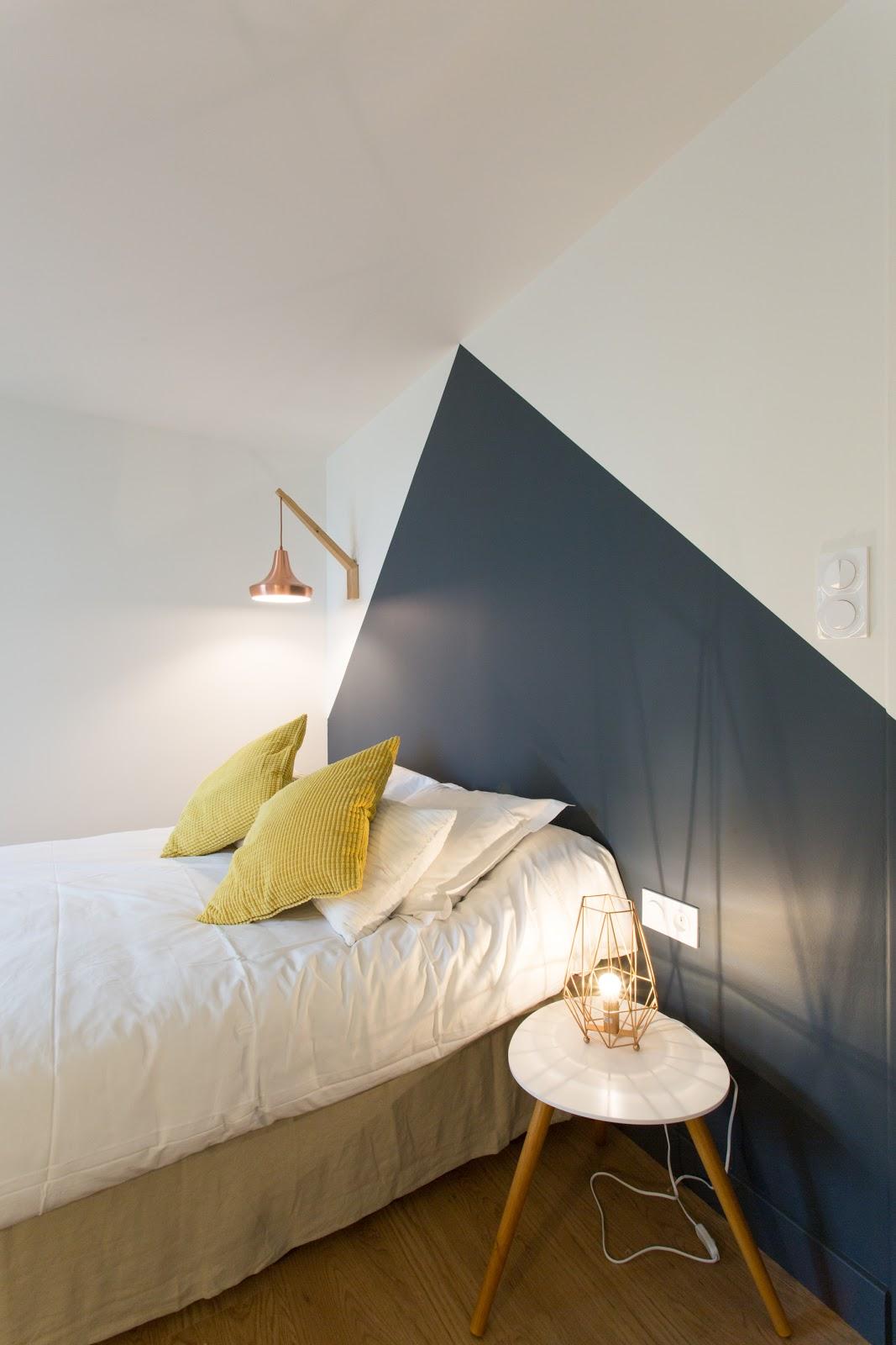 quarto parede pintura geométrica