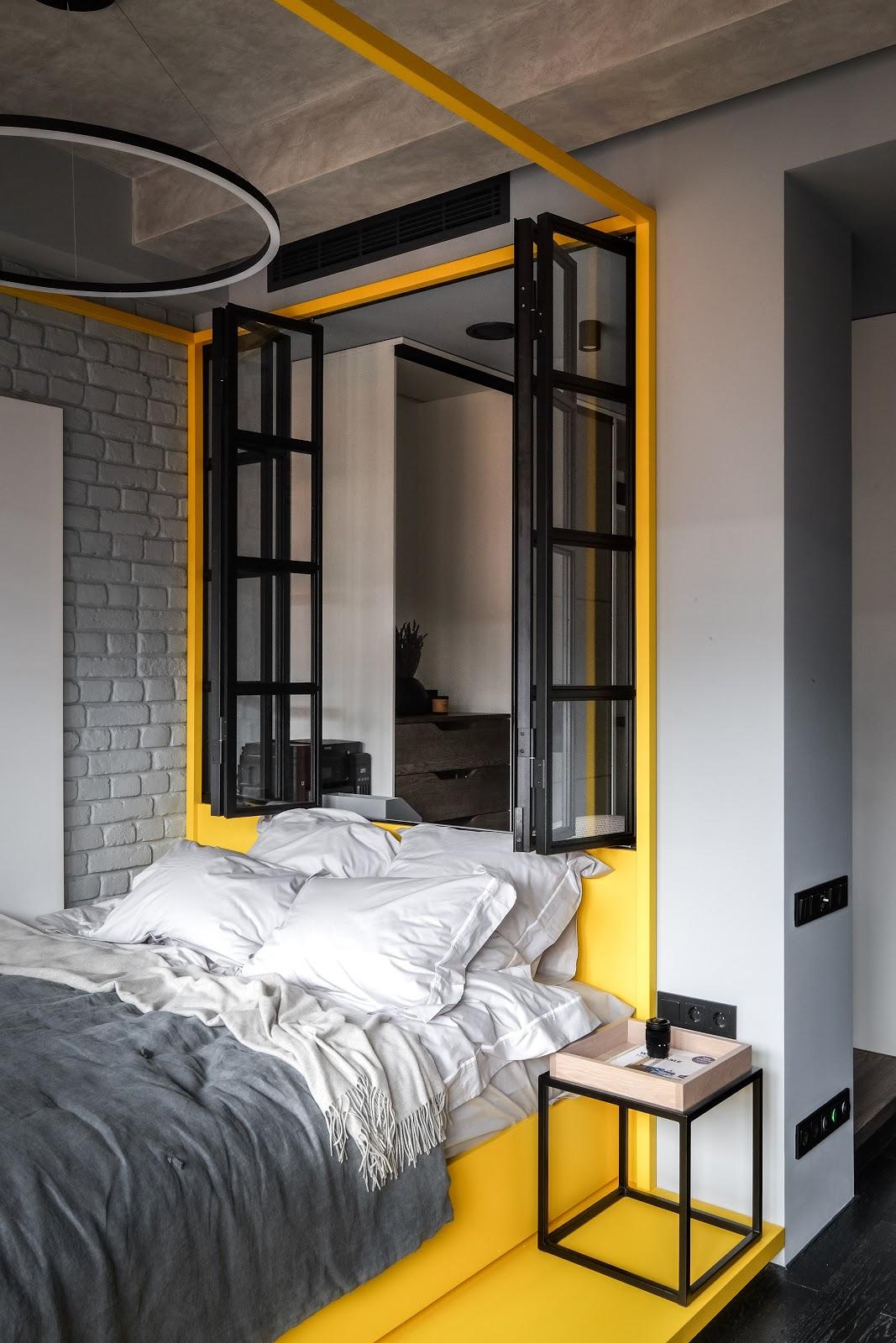 quarto estilo industrial decoração cinza e amarelo