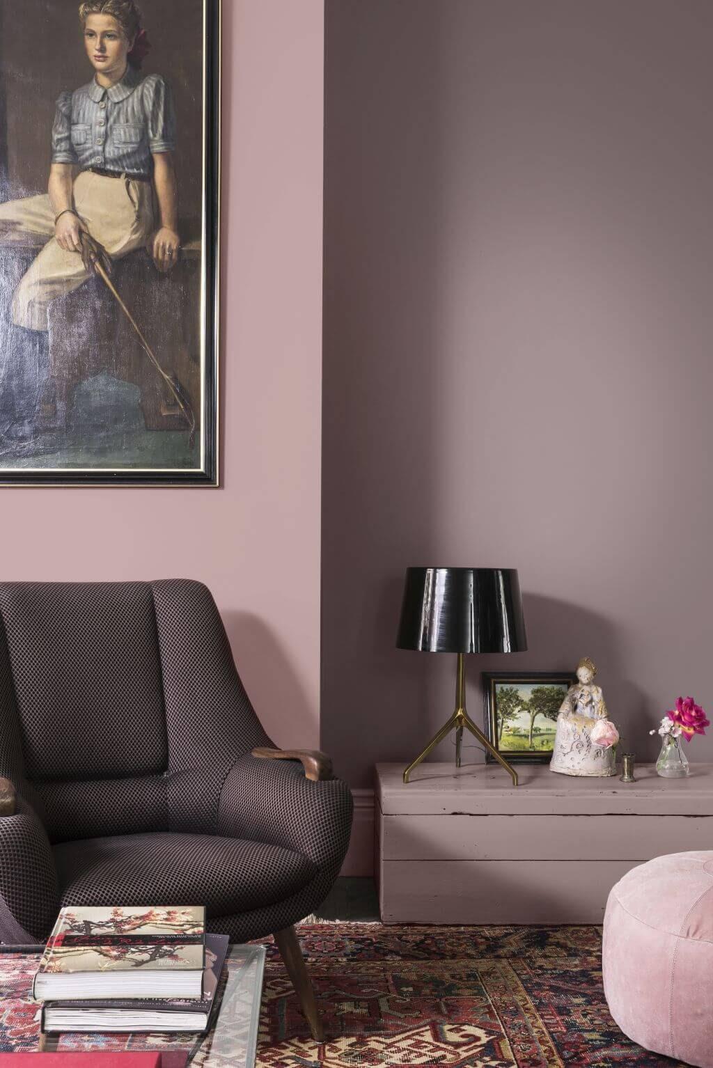 sala de estar tons de rosa