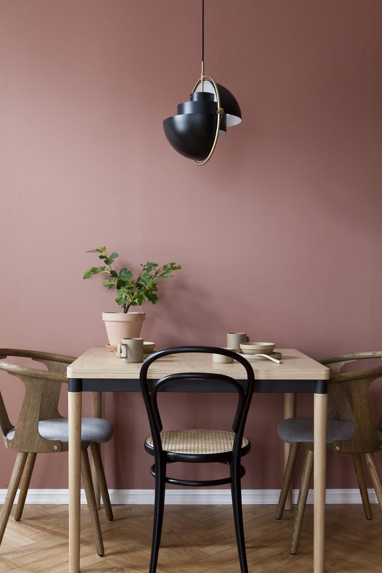 sala de jantar tons de rosa