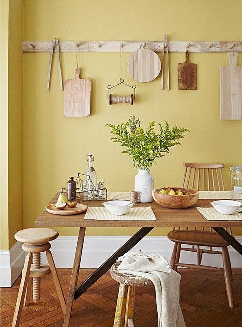 sala de jantar amarelo pastel