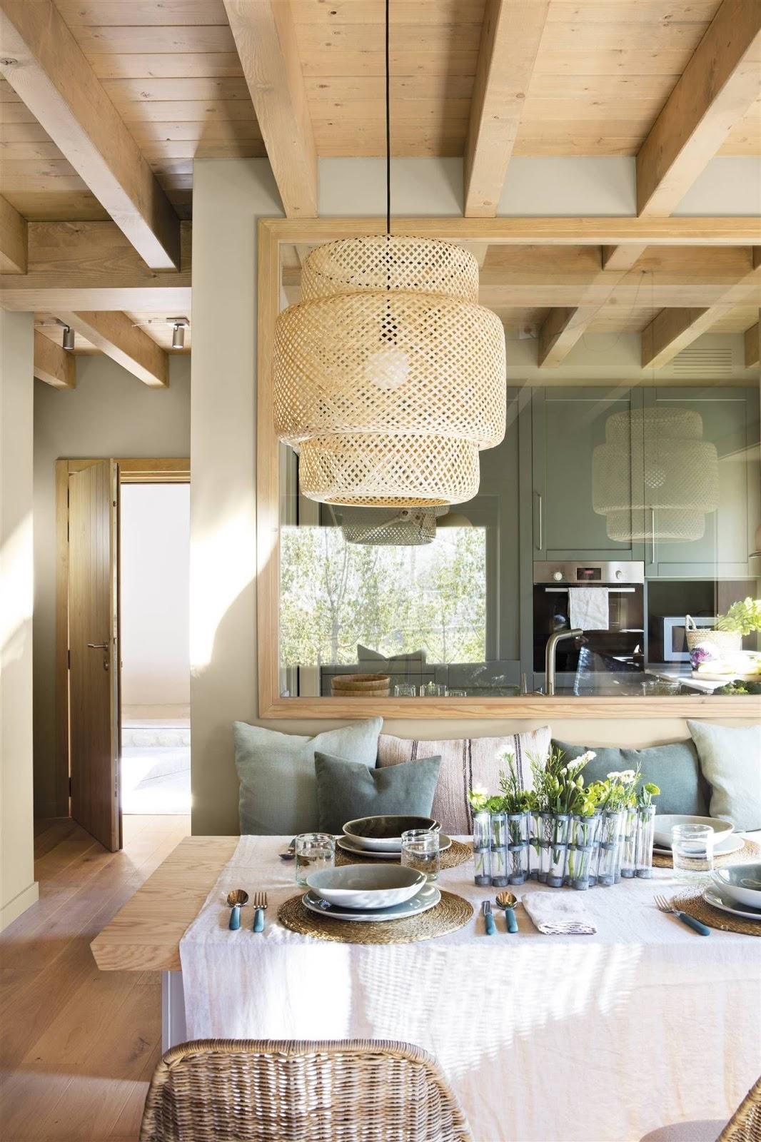 cozinha integrada com elementos naturais