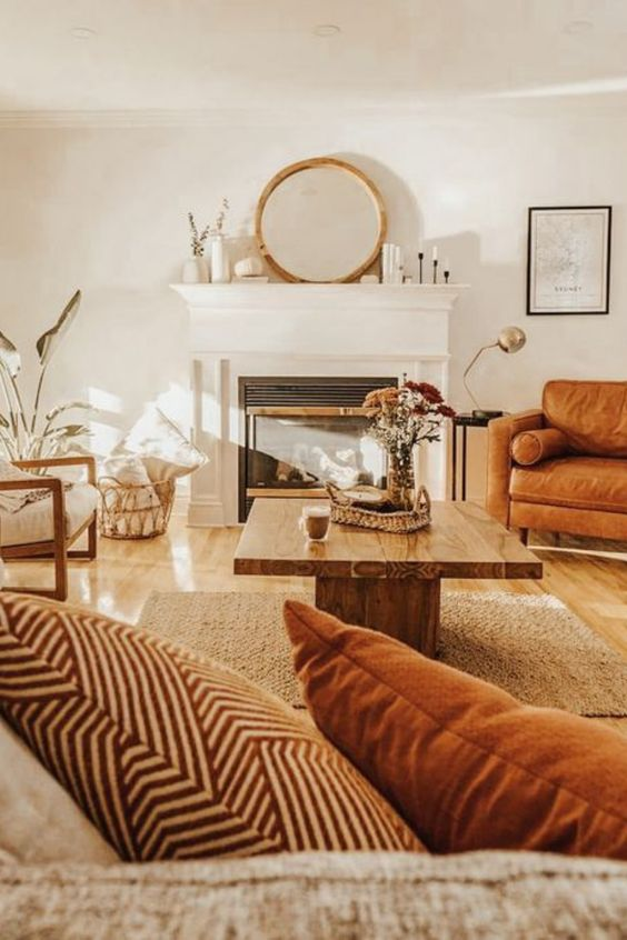 sala de estar com elementos naturais