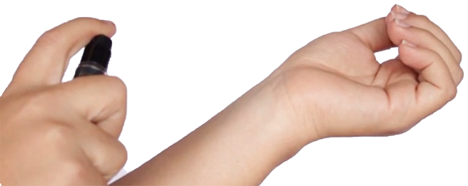 Sleep spray applied to arm