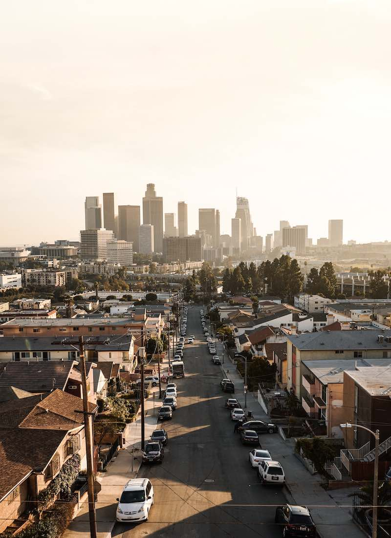 Skyline of Downtown Los Angeles in the afternoon.