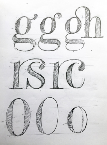 David's Foundry Tiento ligature sketches.