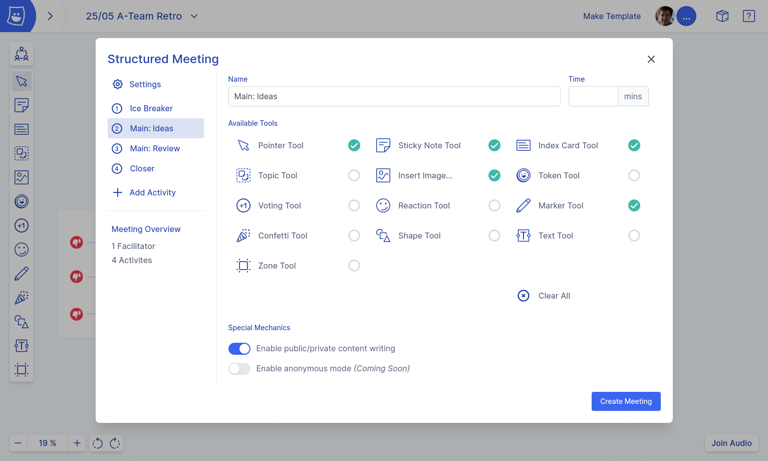 Structured meeting planner