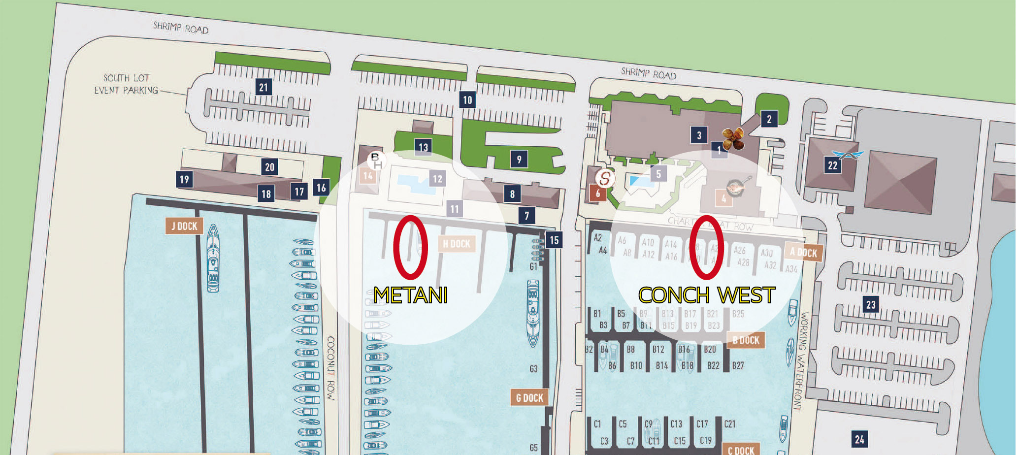 custom map for stock island location of Conch West and Metani
