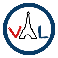 Version Originale Language business logo. Letters V, an image of the Eiffel Tower to represent the letter O, and the L .