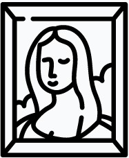 Icon image of the Mona Lisa painting, in black outline.