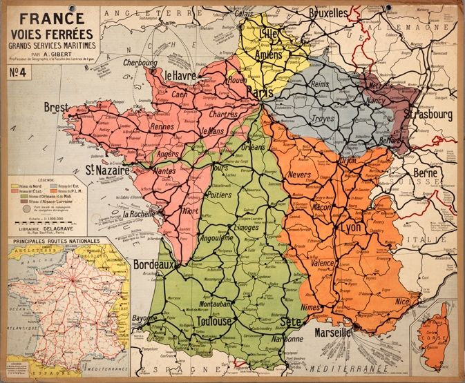 Image of an old vintage map of France.