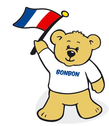 Teddy bear cartoon image waving a French flag.