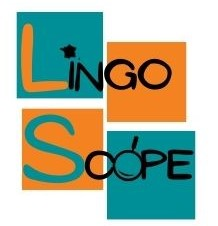 Lingoscope logo with map of europe and magnifying glass.