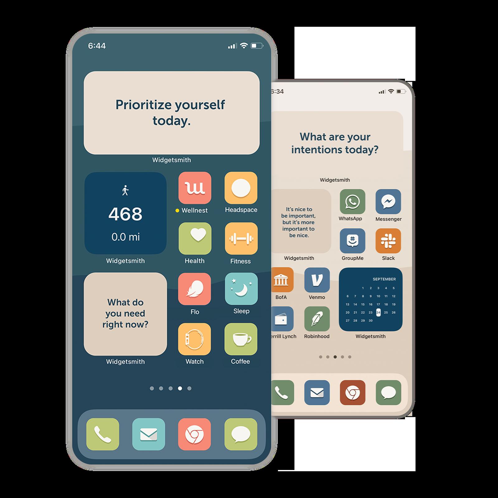 Phone screens with beautiful, calming, custom app icons.
