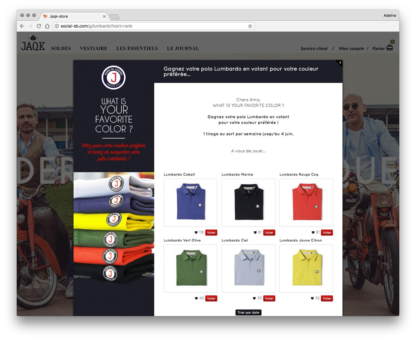 Vote produit Jaqk Store