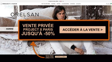 Outils CRM marketing e-commerce pop-up dynamique sur le site de project x paris
