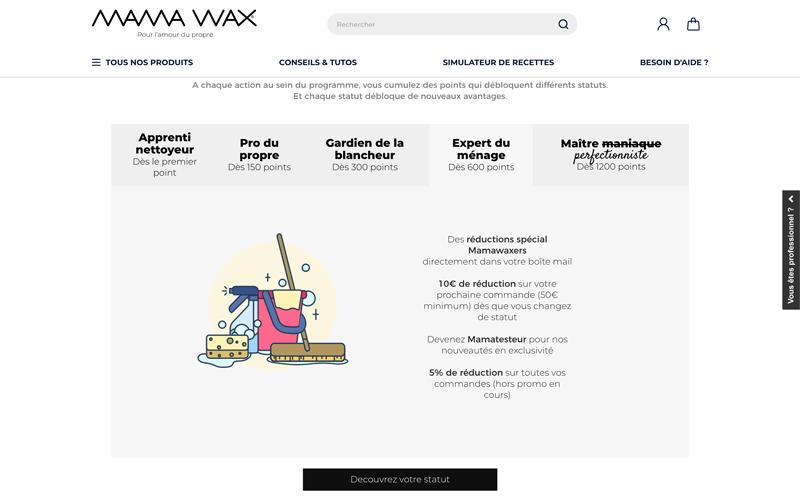 Programme de fidélité Mamawax exemple