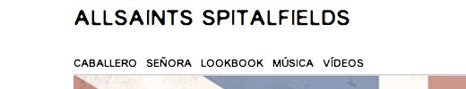 Menú de la tienda online Allsaints Spitalfields con tipografias web