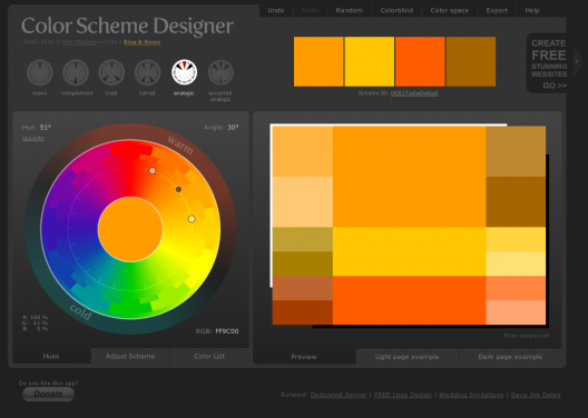 Interfaz de Color Scheme Designer