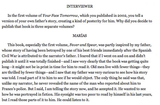 Fragmento de entrevista de Javier Marías en The Paris Review