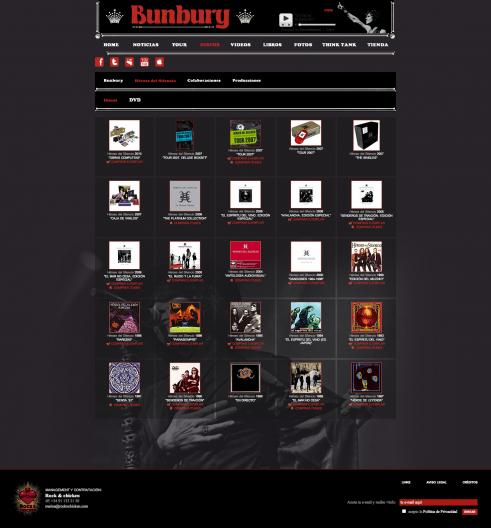 Discografía en la web de Enrique Bunbury