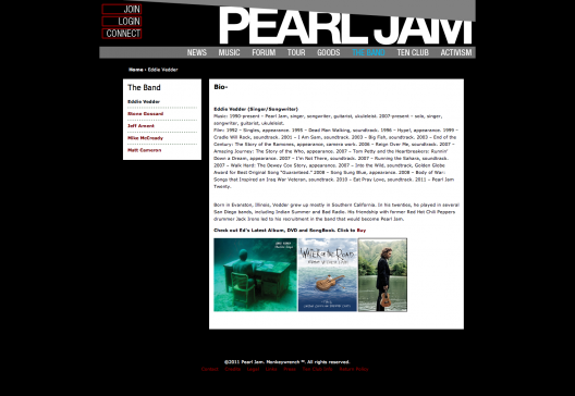 Web de grupos de música: Pearl Jam