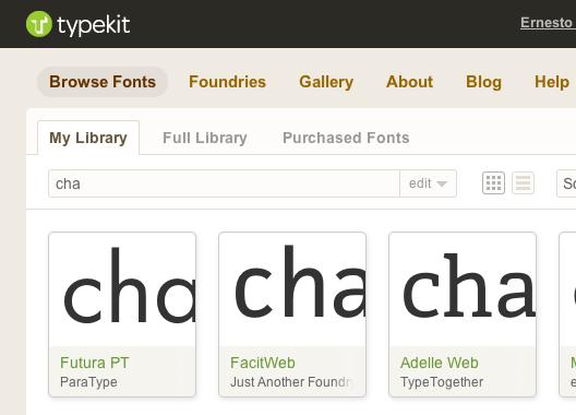 Detalle de Typekit