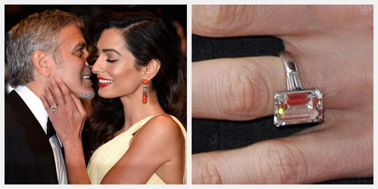 Amal Clooney Emerald Cut Diamond