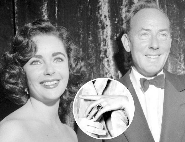 diamond-studded engagement ring elizabeth taylor and Michael Wilding
